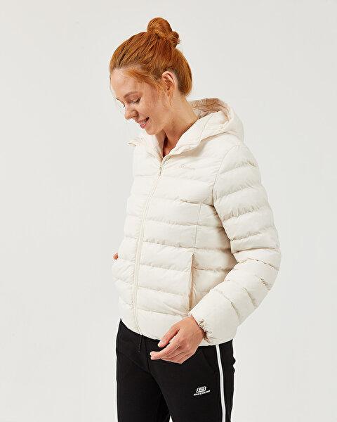 Outerwear W Padded Lightweight Hooded Jacket Kadın Bej Mont-2