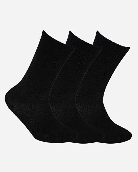 U Skx Nopad Crew Cut Socks 3 Pack Unisex Siyah Çorap